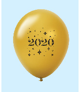 "11"" Year 2020 Stars Latex Balloons Gold (25 Per Bag)"
