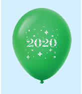 "11"" Year 2020 Stars Latex Balloons Green (25 Per Bag)"