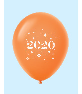 "11"" Year 2020 Stars Latex Balloons Orange (25 Per Bag)"