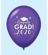 "11"" Congrats Grad 2020 Latex Balloons 25 Count Purple"