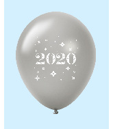 "11"" Year 2020 Stars Latex Balloons Silver (25 Per Bag)"