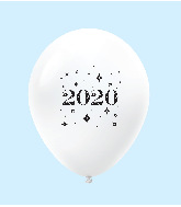 "11"" Year 2020 Stars Latex Balloons White (25 Per Bag)"