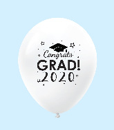 "11"" Congrats Grad 2020 Latex Balloons 25 Count White"