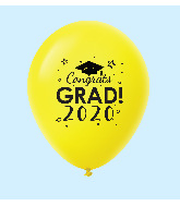 "11"" Congrats Grad 2020 Latex Balloons 25 Count Yellow"