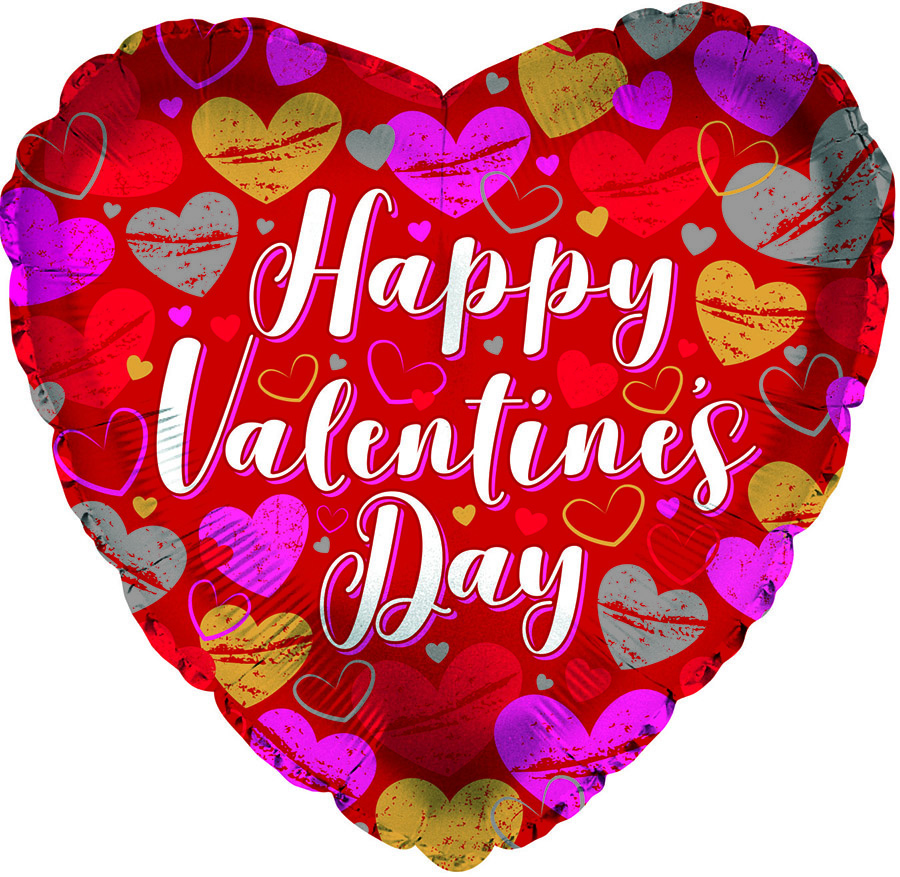 "17"" Happy Valentine's Day Textured Hearts Foil Balloon"