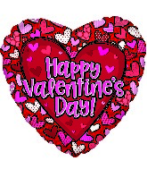 "17"" Happy Valentine's Day Pattern Hearts Foil Balloon"