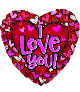 "17"" I Love You Pattern Hearts Foil Balloon"