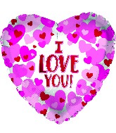 "17"" I Love You Hearts On Pearl Foil Balloon"