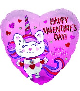 "17"" Happy Valentine's Day Caticorn Heart Foil Balloon"