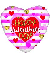 "13"" Airfill Only Happy Valentine's Day Stripes Foil Balloon"