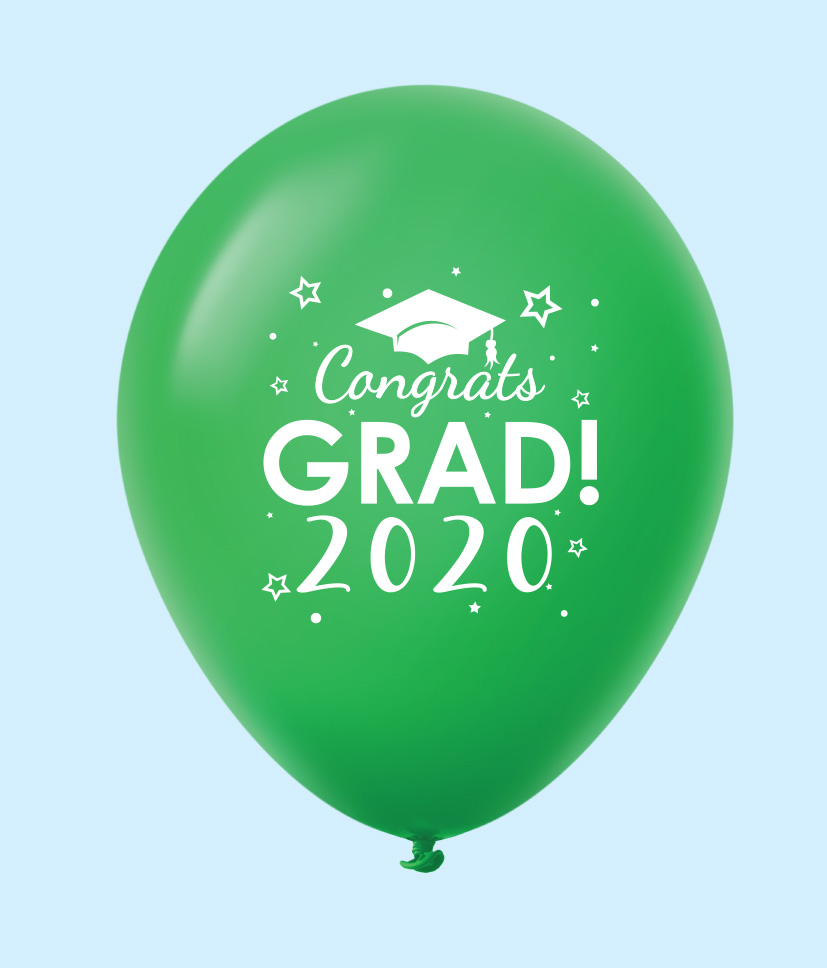 "11"" Congrats Grad 2020 Latex Balloons 25 Count Green"