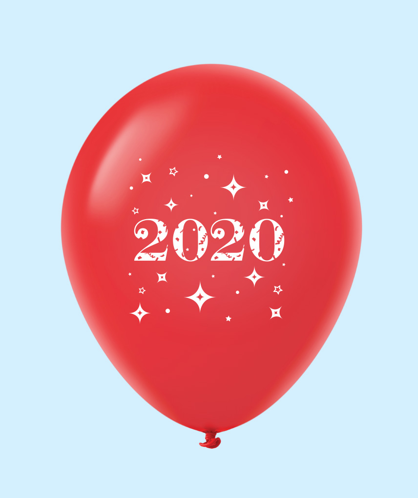 "11"" Year 2020 Stars Latex Balloons Red (25 Per Bag)"