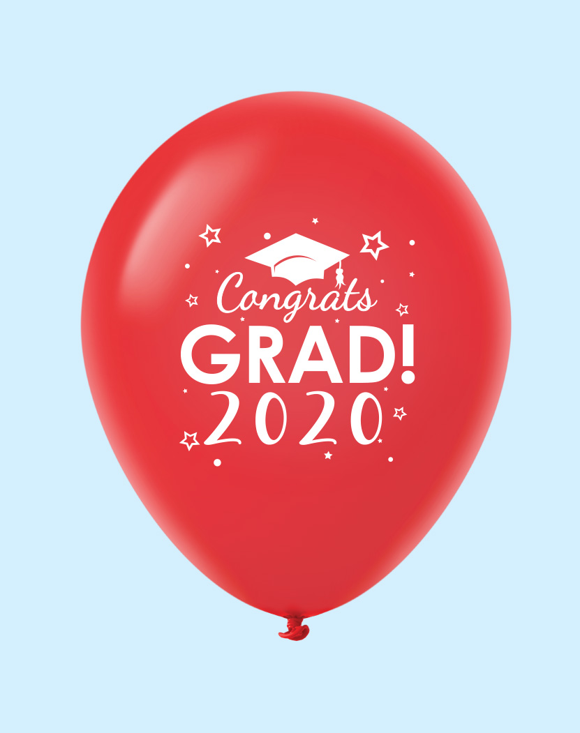 "11"" Congrats Grad 2020 Latex Balloons 25 Count Red"
