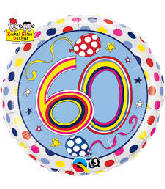 "18"" Dots & Stripes Age 60 Licensed Mylar Balloon"