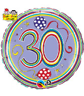"18"" Dots & Stripes Age 30 Licensed Mylar Balloon"