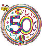 "18"" Dots & Stripes Age 50 Licensed Mylar Balloon"