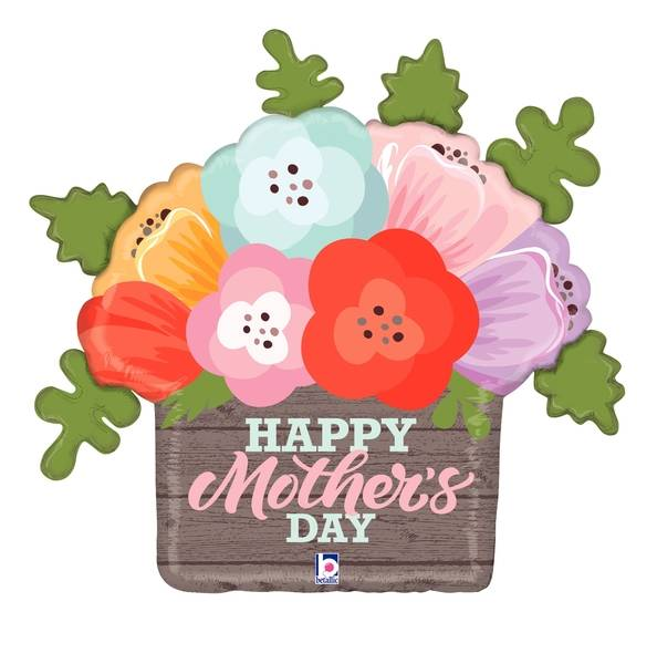 "32"" Foil Rustic Mother's Day Flowers Foil Balloon"