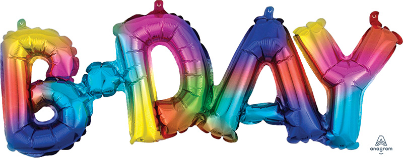 "26"" Airfill Only Block Phrase Bday Rainbow Splash Balloon"