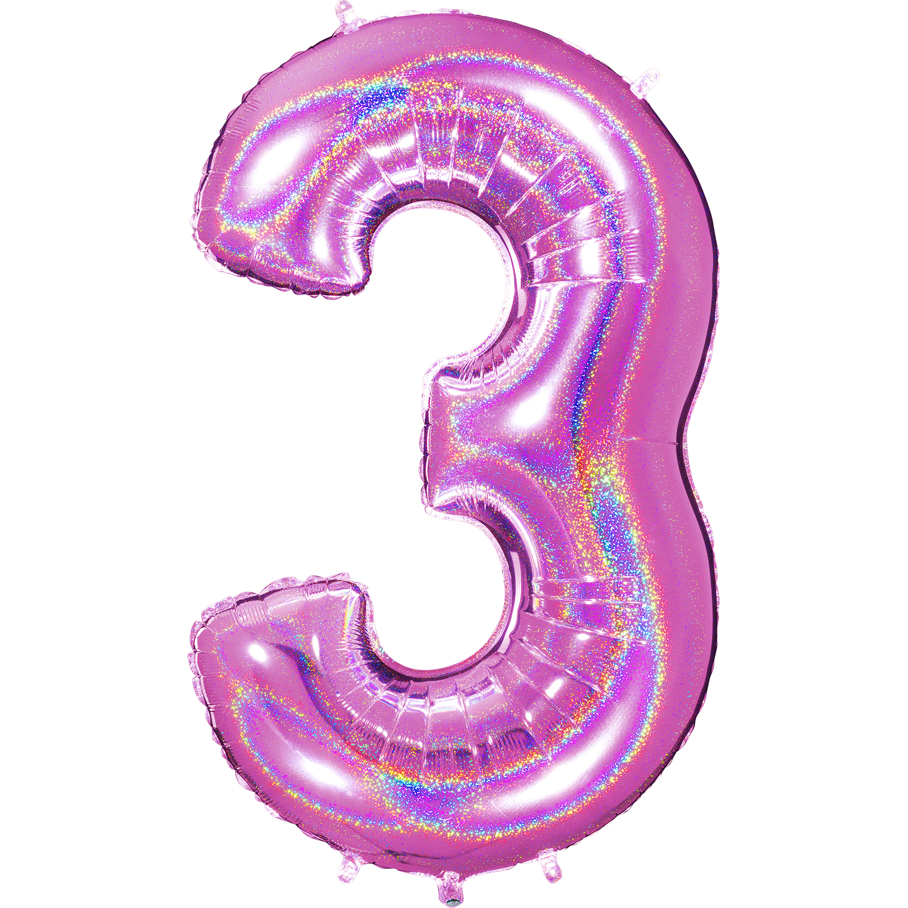 "40"" Number ""3"" Fucshia Glitter Holographic Balloons"