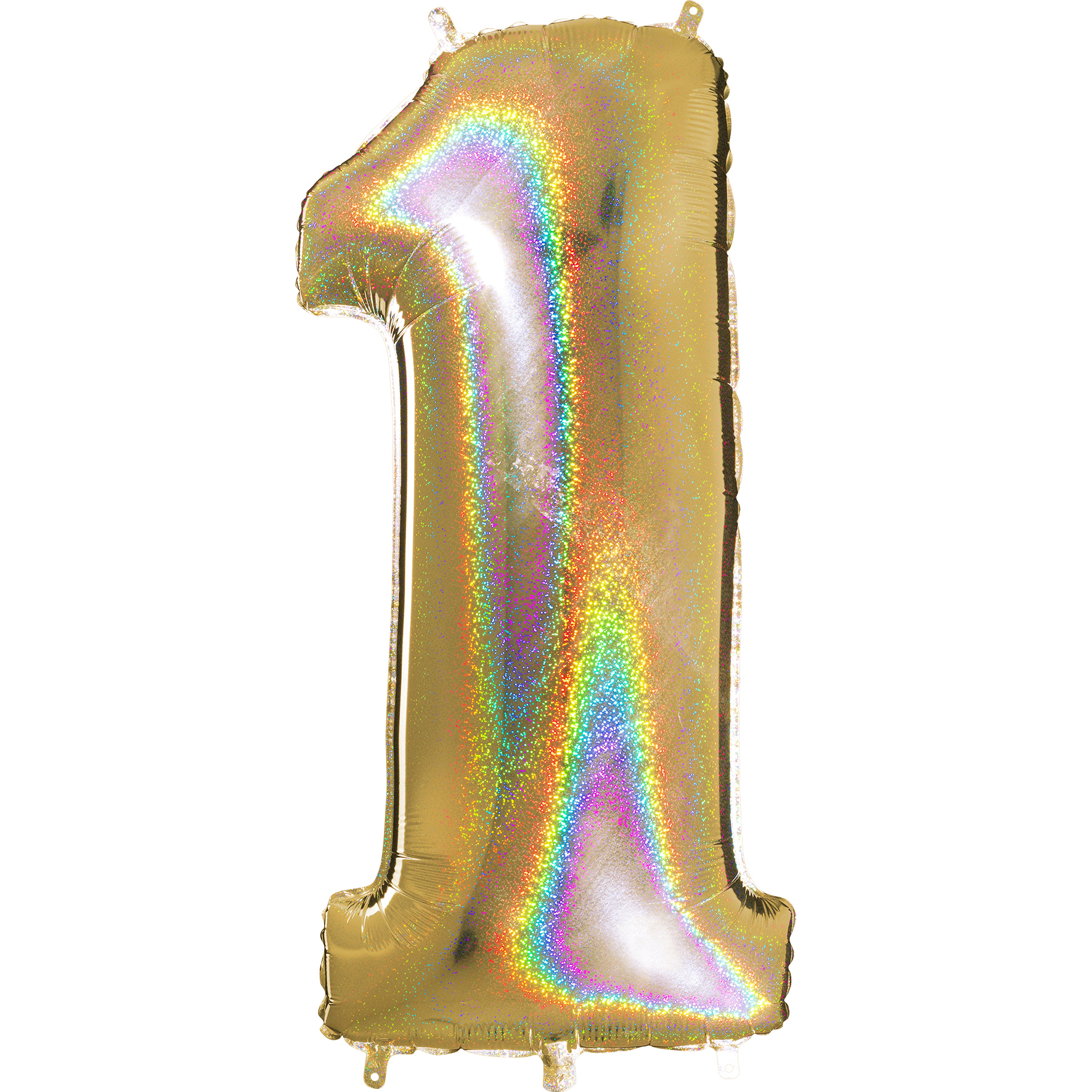 "40"" Number ""1"" Gold Glitter Holographic Balloons"
