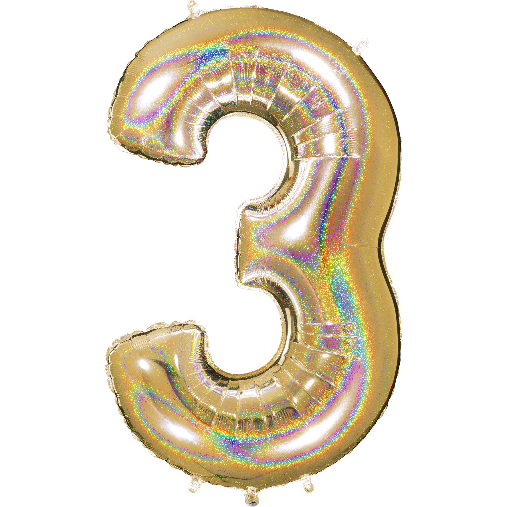 "40"" Number ""3"" Gold Glitter Holographic Balloons"