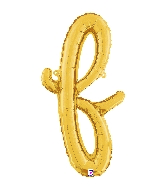 "24"" Air Filled Only Script Letter ""F"" Gold Foil Balloon"