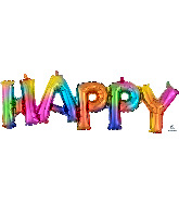"30"" Airfill Only Block Phrase Happy Rainbow Splash Balloon"