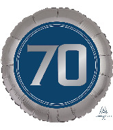"18"" Silve/Blue Number 70 Foil Balloon"
