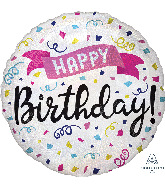 "18"" Holographic Happy Birthday Sparkle Banner Foil Balloon"