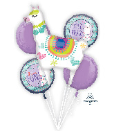 Bouquet Llama Fun Foil Balloon