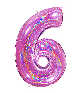 "40"" Number ""6"" Fucshia Glitter Holographic Balloons"