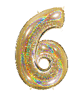 "40"" Number ""6"" Gold Glitter Holographic Balloons"