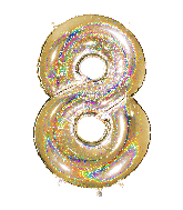 "40"" Number ""8"" Gold Glitter Holographic Balloons"