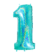 "40"" Number ""1"" Tiffany Glitter Holographic Balloons"