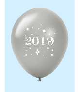 "11"" Year 2019 Stars Latex Balloons Silver (25 Per Bag)"
