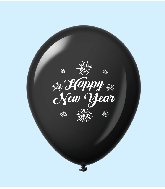 "11"" New Years Fireworks Latex Balloons Black (25 Per Bag)"