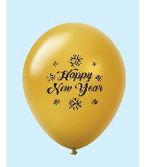 "11"" New Years Fireworks Latex Balloons Gold (25 Per Bag)"