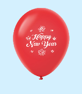 "11"" New Years Fireworks Latex Balloons Red (25 Per Bag)"