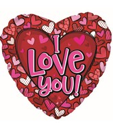 """17"""" I Love You Pattern Hearts Foil Balloon"""