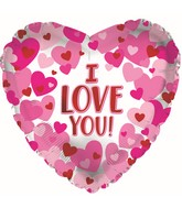 """17"""" I Love You Hearts On Pearl Foil Balloon"""