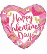 "17"" Happy Valentine's Day Pink Cheveron Foil Balloon"