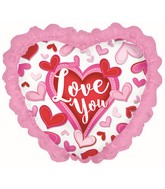 """14"""" Airfill Only Happy Valentine's Day Chevron W/Ruffle"""