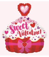 """12"""" Airfill Only Sweet Valentine Cupcake Balloon"""