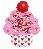 """14"""" Airfill Only Happy Valentine's Day Cupcake Foil Balloon"""
