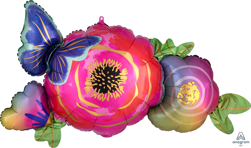 """37"""" Satin Infused Flowers & Butterfly Foil Balloon"""