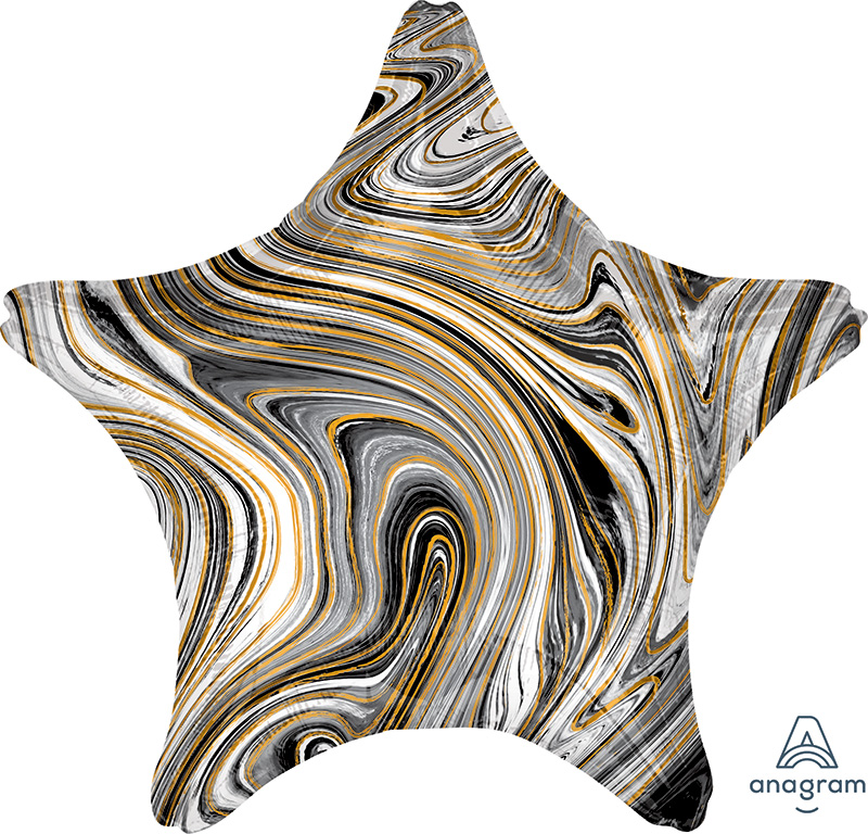 "18"" Marblez™ Black Star Foil Balloon"