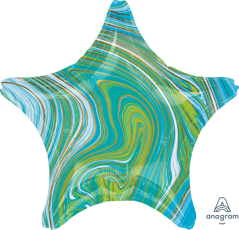 "18"" Marblez™ Blue Green Star Foil Balloon"