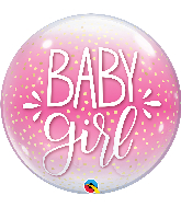 "22"" Single Baby Girl Pink & Confetti Dots Bubble Balloon"