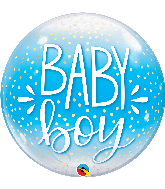 "22"" Single Baby Boy Blue & Confetti Dots Bubble Balloon"