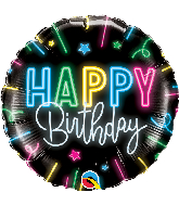 "18"" Round Happy Birthday Neon Glow Foil Balloon"